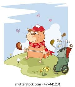 Vector Illustration of a Cute Golfer Cat. Cartoon