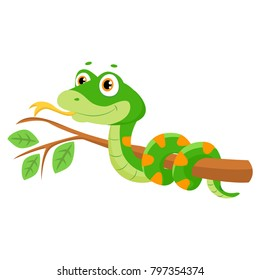 Vector Illustration Of Cute Green Smiles Snake On Branch. Cartoon Vector Reptile Isolated On White Background.