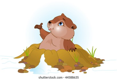 Vector illustration of a cute groundhog popping out of a hole.