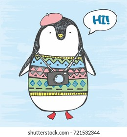 Vector illustration of cute hand drawn sketch fat penguin in a sweater, beret, with camera and comics cloud with lettering hi! isolated on a blue grunge background. North Pole