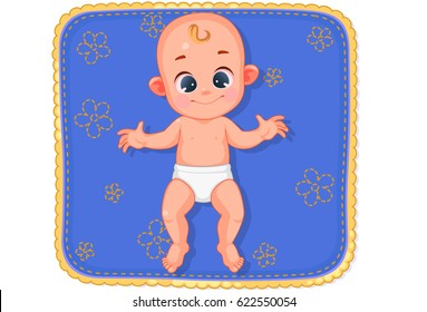 Vector illustration of cute happy baby laying on mat