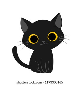 Vector illustration of cute happy black cat with yellow eyes