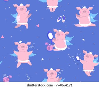 Vector illustration of cute happy piggy princess in crown, wings and tutu. Seamless pattern of funny piglet - pig makes selfie, sleeping pig, dancing pig, singing pig. Illustration pattern for kids