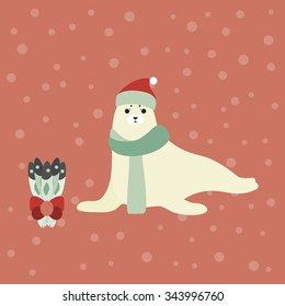 84c616d4eec Vector illustration of a cute Harp seal with a personal Christmas gift.  Christmas background.