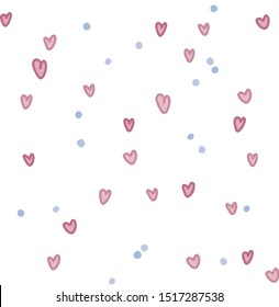 Vector illustration of cute hearts. pattern.