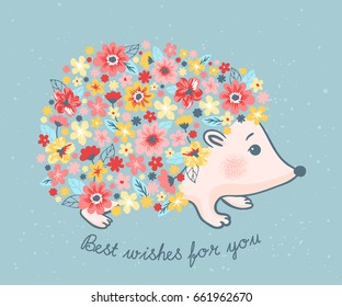 Vector illustration of cute hedgehog with flowers on blue background. Birthday greeting card