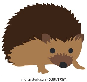 Vector illustration of cute hedgehog isolated on white background.