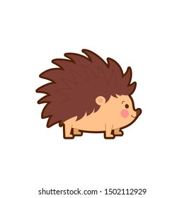 Vector illustration of cute hedgehog on white background.