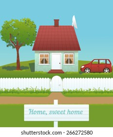vector illustration of cute house with chimney, tiled roof, white fence and car