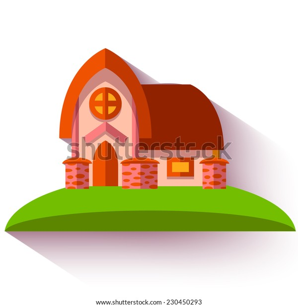 Vector illustration with cute house in flat style.