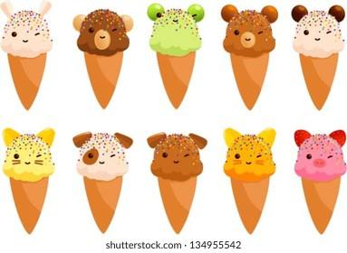 Vector illustration of cute ice cream cones that look like animals.