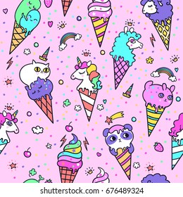 Vector illustration of Cute ice cream cones that look like animals. Seamless ice cream pattern with animals. Vector background.