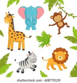 cartoon jungle animals images  stock photos   vectors Baby Hippo Clip Art Baby Monkey Clip Art