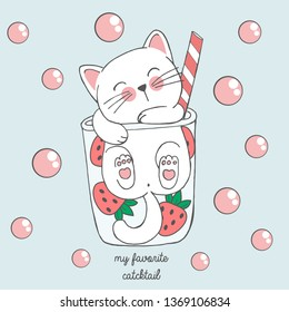 Vector illustration of cute kawaii hand drawn cat in anime style in a glass of strawberry cocktail with pink bubbles, lettering my favorite catcktail, drawing for children's menu, cocktail party