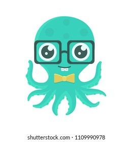 Vector illustration of cute kid octopus with glasses and bow tie. Cartoon design character with braces. EPS 10