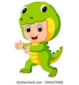 vector illustration of Cute kids cartoon wearing crocodile costume