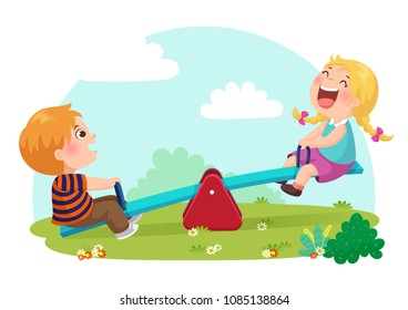 Vector illustration of cute kids having fun on seesaw at playground