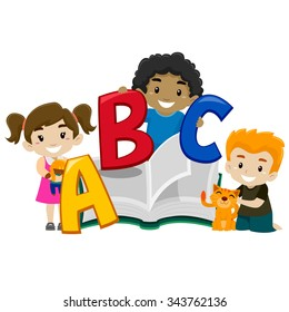 Vector Illustration of Cute Kids holding a Book ABC