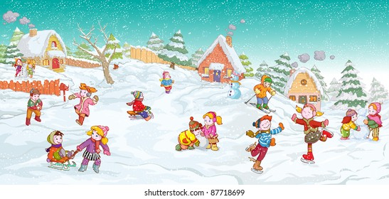 Vector illustration, cute kids playing winter games, card concept.