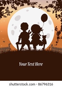 Vector illustration, cute kids sitting on a bench, card concept.