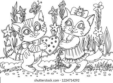 Vector illustration. Cute kittens give a valentine with love. Coloring book. Antistress for adults and children. The work was done in manual mode. Black and white.
