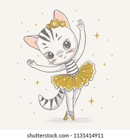 Vector illustration of a cute kitty ballerina in the yellow tutu.