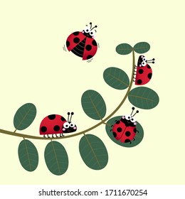 Vector illustration of the cute ladybirds or ladybugs walking on the stem of a plant.