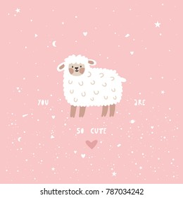 Vector illustration with cute lamb and text. Pink childish background with cartoon sheep and heart.