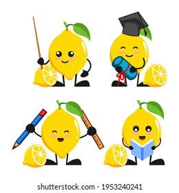 vector illustration of cute lemon fruit school and education theme bundle set. cute lemon fruit Concept White Isolated. Flat Cartoon Style Suitable for Landing Page, Banner, flyer, Sticker.