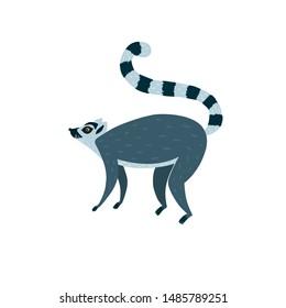 Vector illustration with cute lemur vector illustration