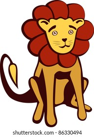 A vector illustration of a cute Lion. Can be recolored or scaled without problems and quality loss