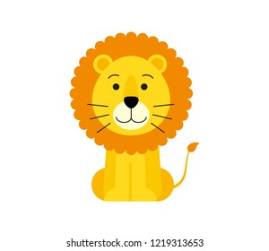 Vector illustration of cute lion cartoon isolated on white background