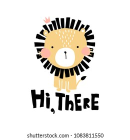 vector illustration, cute lion and hi there hand lettering text