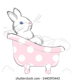 Vector Illustration of a Cute Little Bathing Bunny with Foam. Freehand Drawing of a Small White Rabbit with Blue Eyes. Beautiful and Adorable Fluffy Leveret. Free Hand Draw. Cartoon Kids Style.