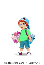 Vector Illustration Of Cute Little Boy With Flowers And Present Holiday Celebration Festive Clip Art