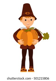 Vector illustration cute little boy holding a big pumpkin isolated on white background for Happy Thanksgiving Day celebrations.
