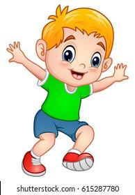 Vector illustration of Cute little boy posing
