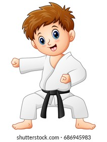 Vector illustration of Cute little boy doing karate