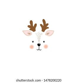Vector illustration cute little deer face , baby picture, print on clothes
