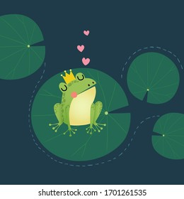 Vector illustration of a cute little frog prince with a golden crown on the lotus leaf.