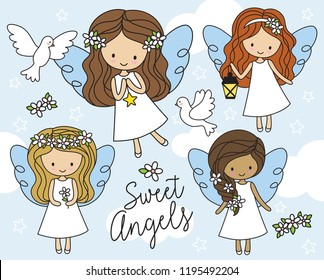 Vector illustration of cute little girl angels in white dress with cloud  background and white doves ad7232fed