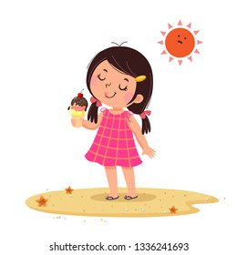 Vector illustration of cute little girl feeling happy with her ice cream.