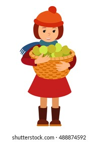 Vector illustration cute little girl holding a big basket with apples isolated on white background for Happy Thanksgiving Day celebrations.