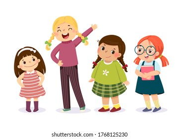 Vector illustration of cute little girls in different character on white background.