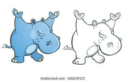 Vector Illustration of a Cute Little Hippo Cartoon Character. Coloring Book. Outline