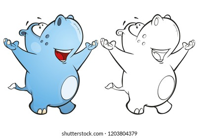 Vector Illustration of a Cute Little Hippo Cartoon Character. Coloring Book.