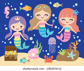 Vector illustration of cute little mermaid under the sea with fishes, jellyfish, seahorse, crab, and shell.
