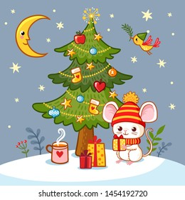 Vector illustration with a cute little mouse who sits under the Christmas tree and holds a gift in his hand.