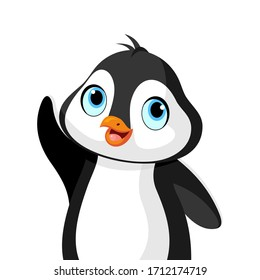 Vector illustration of a cute little penguin with blue eyes waving.
