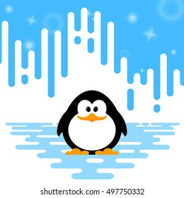 Vector illustration of a cute little penguin  on winter abstract striped background.